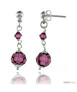 Sterling Silver Pink Sapphire Swarovski Crystals Drop Earrings, 1 1/4 in... - $32.34