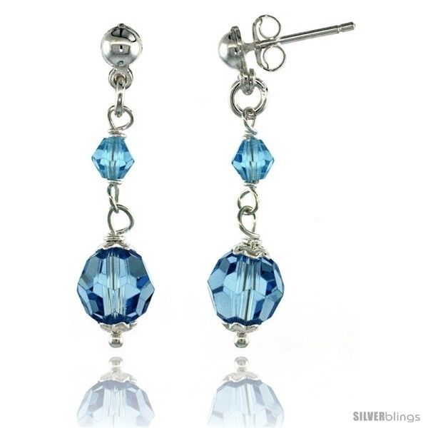 Primary image for Sterling Silver Blue Topaz Swarovski Crystals Drop Earrings, 1 1/4 in. (32 mm)
