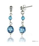 Sterling Silver Blue Topaz Swarovski Crystals Drop Earrings, 1 1/4 in. (... - $32.34