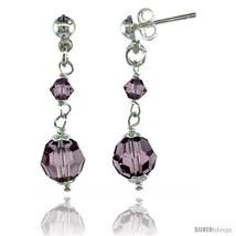 Sterling Silver Amethyst Swarovski Crystals Drop Earrings, 1 1/4 in. (32 mm)  - $32.34