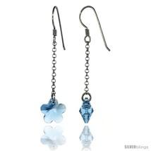 Sterling Silver Flower Blue Topaz Swarovski Crystals Drop Earrings, 2 1/16 in.  - $25.14