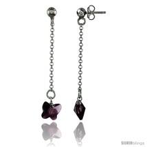 Sterling Silver Butterfly Amethyst Swarovski Crystal Drop Earrings, 1 13/16 in.  - $26.34