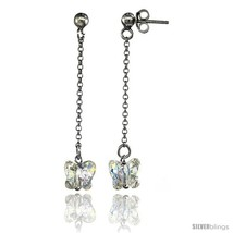 Sterling Silver Butterfly Clear Swarovski Crystal Drop Earrings, 1 13/16... - $21.51