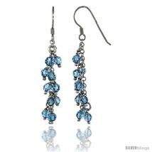 Sterling Silver Blue Topaz Swarovski Crystals Cluster Drop Earrings, 2 3/16 in.  - $53.94