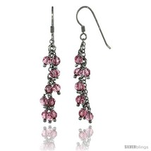 Sterling Silver Pink Sapphire Swarovski Crystals Cluster Drop Earrings, ... - $891,87 MXN