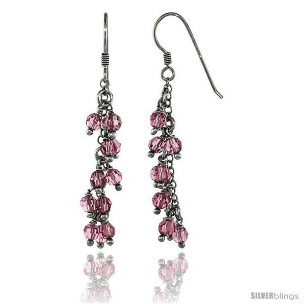 Sterling Silver Pink Sapphire Swarovski Crystals Cluster Drop Earrings, 2 3/16  - $53.94