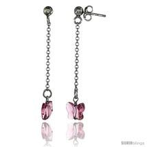 Sterling Silver Butterfly Pink Sapphire Swarovski Crystal Drop Earrings, 1  - $26.34