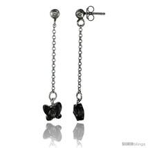 Sterling Silver Butterfly Smoky Topaz Swarovski Crystal Drop Earrings, 1 13/16  - $26.34