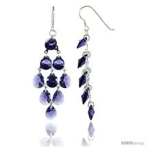 Sterling Silver Teardrop Tanzanite Swarovski Crystals Chandelier Earring... - $95.99