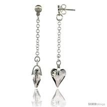 Sterling Silver Heart Clear Swarovski Crystal Drop Earrings, 2 1/8 in. (54 mm)  - $46.74