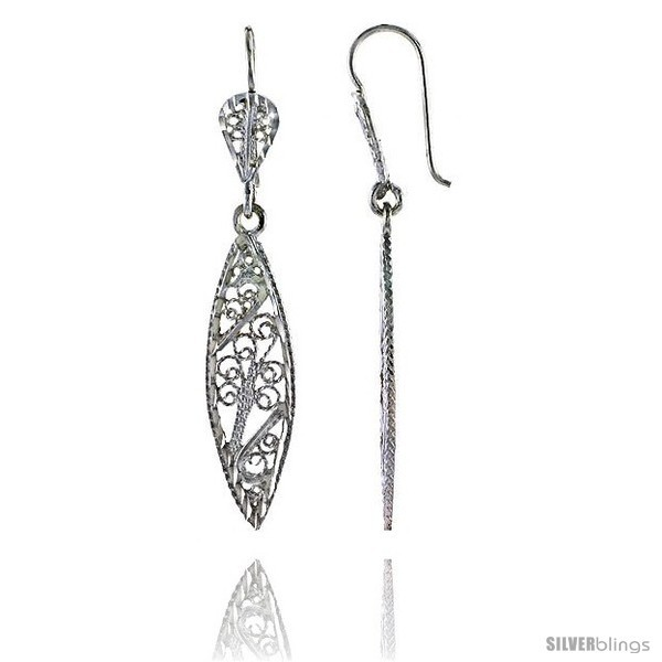 Primary image for Sterling Silver 1 7/8in  (47 mm) tall Marquise-shaped Filigree Dangle