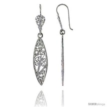 Sterling Silver 1 7/8in  (47 mm) tall Marquise-shaped Filigree Dangle  - $24.84