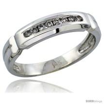 Size 10 - 14k White Gold Men's Diamond Ring Band w/ 0.14 Carat Brilliant... - $529.39