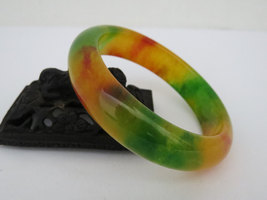 Vintage Natural Yellow Green Red Jade Jadeite Wide Bangle Bracelet 58MM - $155.00