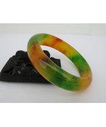 Vintage Natural Yellow Green Red Jade Jadeite Wide Bangle Bracelet 58MM - $155.00