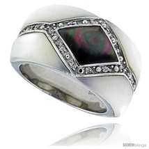 Size 10 - Black & White Mother of Pearl Band in Solid Sterling Silver, Accented  - $53.92