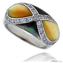 Size 7 - Yellow & Black Mother of Pearl Dome Band in Solid Sterling Silver,  - $42.17