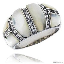 Size 7 - Mother of Pearl Dome Band in Solid Sterling Silver, Accented with Tiny  - $42.85