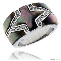 Size 10 - Black Mother of Pearl Cross Band in Solid Sterling Silver, Accented  - $51.14