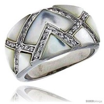 Size 7 - Mother of Pearl Dome Band in Solid Sterling Silver, Accented with Tiny  - $55.30