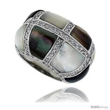 Size 6 - Black & White Mother of Pearl Dome Band in Solid Sterling Silver,  - $67.74