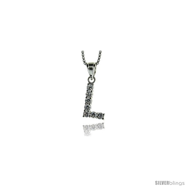 Sterling silver cubic zirconia initial letter l alphabet pendant 1 2 in long