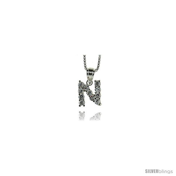 Sterling silver cubic zirconia initial letter n alphabet pendant 1 2 in long