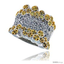 Size 9 - Sterling Silver & Rhodium Plated Bubbles Band, w/ Tiny High Qua... - $59.84