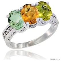 Size 8 - 14K White Gold Natural Green Amethyst, Whisky Quartz & Lemon Qu... - $742.97