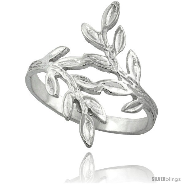 Sterling silver olive branch ring polished finish finish 7 8 in wide