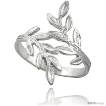 Sterling silver olive branch ring polished finish finish 7 8 in wide thumb200