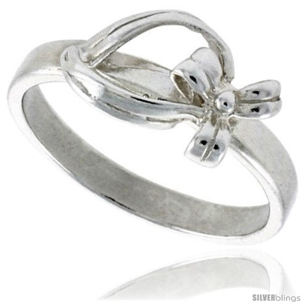 Primary image for Size 6.5 - Sterling Silver Dainty Bow Ring 5/16 in