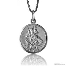 Sterling Silver Saint Christopher Medal, 3/4 in -Style  - $40.63