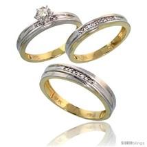 Size 9 - 10k Yellow Gold Diamond Trio Wedding Ring Set His 5mm & Hers 3.... - $820.52