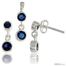 Sterling Silver Dangle Earrings (13mm tall) & Pendant (17mm tall) Set, w/ Bezel  - $49.96