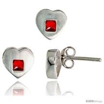 Sterling Silver Matte-finish Heart Earrings (8mm tall) & Pendant Slide (9mm  - $38.26