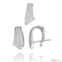 Sterling Silver Matte-finish Huggie Stud Earrings (14mm tall) & Pendant ... - $58.96