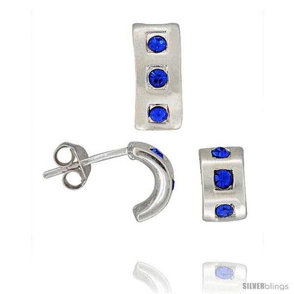 Sterling Silver Matte-finish Half Hoop Earrings (9mm tall) & Pendant Slide