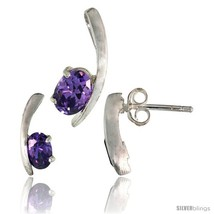 Ncy kink earrings 12mm tall pendant 16mm tall set w oval cut amethyst colored cz stones thumb200