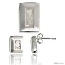 Sterling Silver Matte-finish Rectangular Earrings (9mm tall) & Pendant Slide  - $63.46
