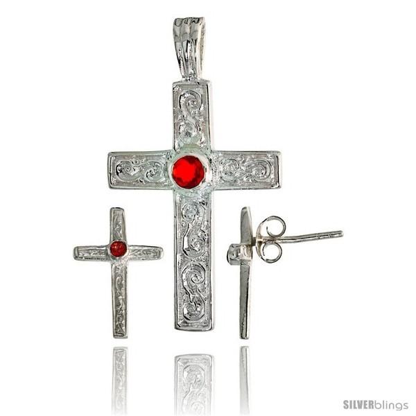 Er swirl designed latin cross earrings 16mm tall pendant 28mm tall set w bezel set brilliant cut