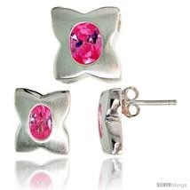 Sterling Silver Matte-finish Four-finger Clover Flower Earrings (12mm tall) &  - $67.96