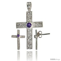 Sterling Silver Swirl-designed Latin Cross Earrings (16mm tall) & Pendant (28mm  - $67.96