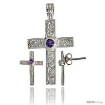 Sterling Silver Swirl-designed Latin Cross Earrings (16mm tall) & Pendan... - $67.96