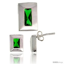 Sterling Silver Matte-finish Rectangular Earrings (9mm tall) & Pendant Slide  - $63.46
