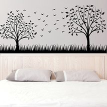 (79'' x 36'') Vinyl Wall Decal Two Stylish Trees with Leafs, Branches and Bir... - $85.25