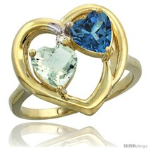 Size 7.5 - 14k Yellow Gold 2-Stone Heart Ring 6mm Natural Green Amethyst &  - £377.06 GBP