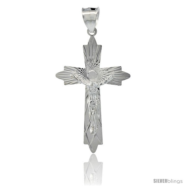 Sterling Silver Crucifix Pendant w/ Cross Fleury, 1 5/8 in