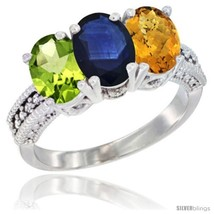 Size 5.5 - 14K White Gold Natural Peridot, Blue Sapphire & Whisky Quartz... - $772.46
