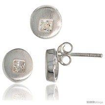 Sterling Silver Matte-finish Round-shaped Earrings (7 mm) & Pendant Slide (8  - $40.06